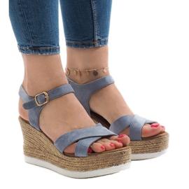 Sandali blu sul tacco a zeppa XL104