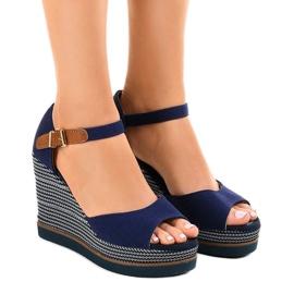 Marina Sandali blu scuro su espadrillas con zeppa 9079