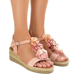 Sandali con zeppa rosa con fiori 218-168