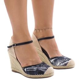 Scarpe con zeppa espadrillas nere 1190-138