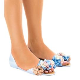 Sandali blu meliski con fiori AE20