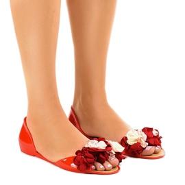 Rosso Sandali rossi meliski con fiori AE20
