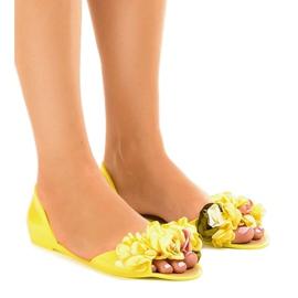 Giallo Sandali meliski gialli con fiori AE20