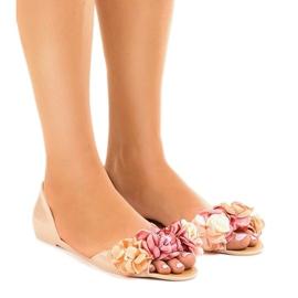 Marrone Sandali beige meliski con fiori AE20