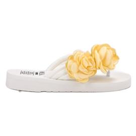 SHELOVET bianco Infradito leggero con fiori