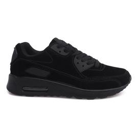 Scarpe da ginnastica sportive sneakers in pelle scamosciata 55109-1 nere nero