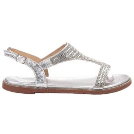 Super Mode grigio Eleganti sandali argento