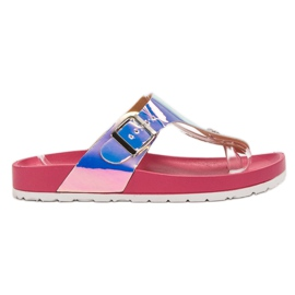 Ideal Shoes rosa Flip-flop con effetto Holo