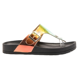 Ideal Shoes nero Flip-flop con effetto Holo