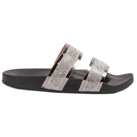 Ideal Shoes grigio Pantofole da donna con zirconi