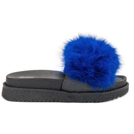 SHELOVET Pantofole con pelliccia blu