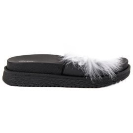 SHELOVET Pantofole con pelliccia bianco