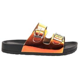 Ideal Shoes giallo Pantofole con fibbia Holo