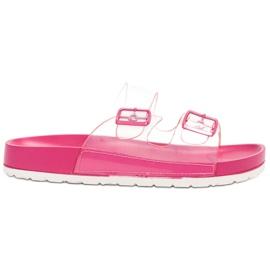 Ideal Shoes Fibbia trasparente con alette rosa