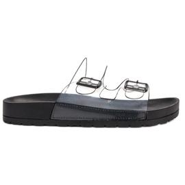 Ideal Shoes nero Fibbia trasparente con alette