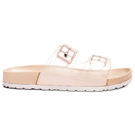 Ideal Shoes marrone Fibbia trasparente con alette