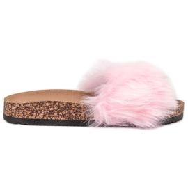 Bona rosa Pantofole con pelliccia