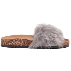 Bona grigio Pantofole con pelliccia
