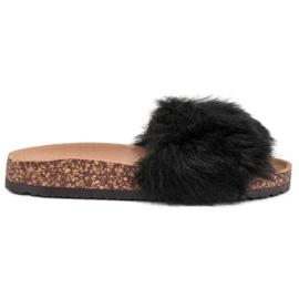 Bona nero Pantofole con pelliccia