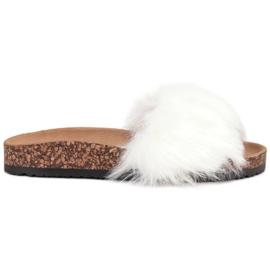Bona bianco Pantofole con pelliccia