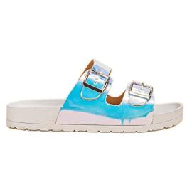 Ideal Shoes grigio Pantofole con fibbia Holo