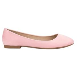 Small Swan Ballerina in pelle scamosciata rosa