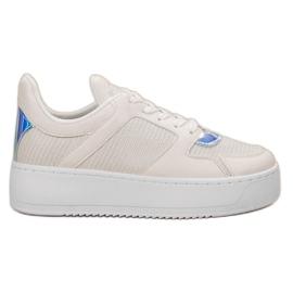 Ideal Shoes bianco Scarpe da ginnastica con broccato