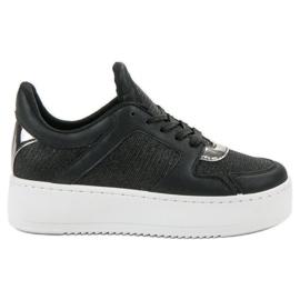 Ideal Shoes nero Scarpe da ginnastica con broccato