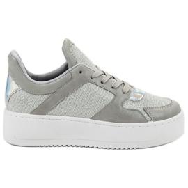 Ideal Shoes grigio Scarpe da ginnastica con broccato