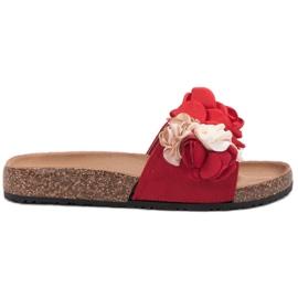 SHELOVET rosso Pantofole con fiori