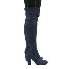 Stivali jeans blu con strappi BH71-HB
