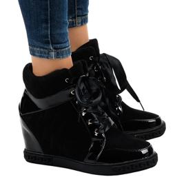 Nero Sneakers con zeppa nere alla moda KLS-109-3