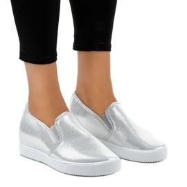 Grigio Sneakers con zeppa argento DD466-2