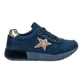 SHELOVET Sneakers in pelle scamosciata blu scuro