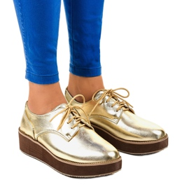 Eleganti scarpe stringate dorate 2017-1 giallo