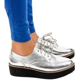 Eleganti scarpe stringate argento 2017-1 grigio