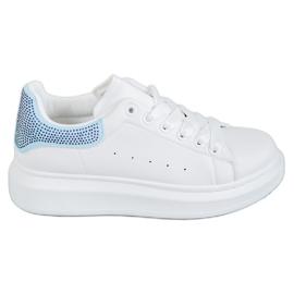 Yes Mile bianco Scarpe sportive con cristalli