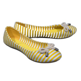 Ballerine a righe con fiocco giallo 16-C