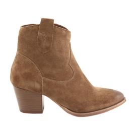 Anabelle 1466 Stivali da cowboy in camoscio color cammello marrone