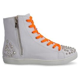 Bianco Sneakers alte con borchie 6563 bianche