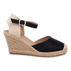 Nero Stivali sandali con zeppa espadrillas A198-3 neri