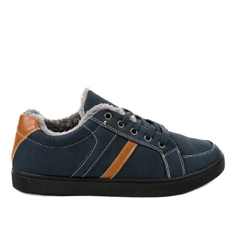 Sneaker da uomo blu scuro con pelliccia E756M-2 marina