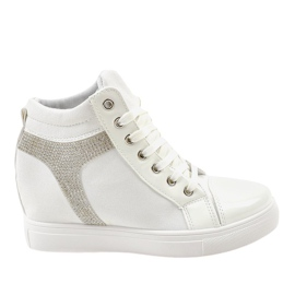 Sneakers con zeppa bianche con paillettes AN2959 bianco