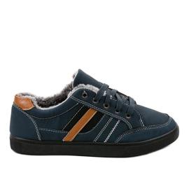 Sneaker da uomo blu scuro con pelliccia E753M-2 marina