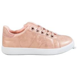 SHELOVET rosa Scarpe da ginnastica con broccato