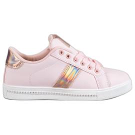 SHELOVET rosa Sneakers Con Zirconi Cubici