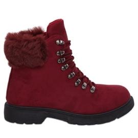 Scarpe da donna trapper bordeaux Y260-9 rosso