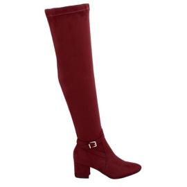Rosso YL-151 Stivali alti a tacco basso vino