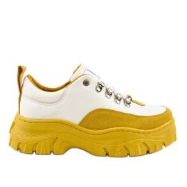 Calzature sportive da donna bianche e gialle alla moda PF5329
