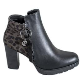 Filippo nero Stivali da donna con stampa leopardo
